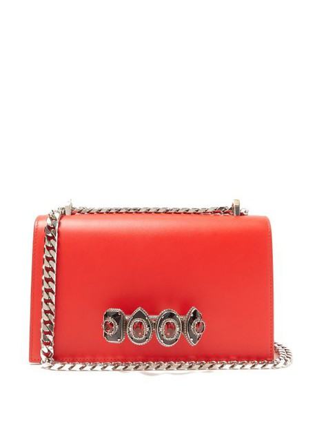 Alexander Mcqueen - Jewelled Knuckle Duster Leather Cross Body Bag - Womens - Red