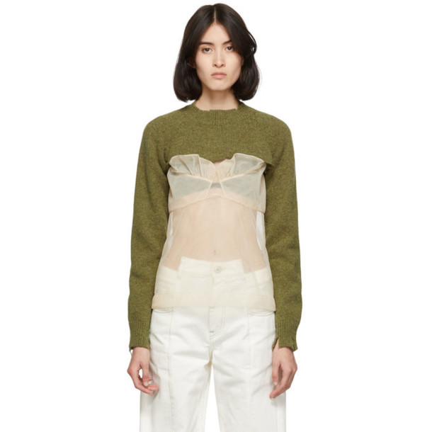 Maison Margiela Green Super Cropped Destroyed Turtleneck