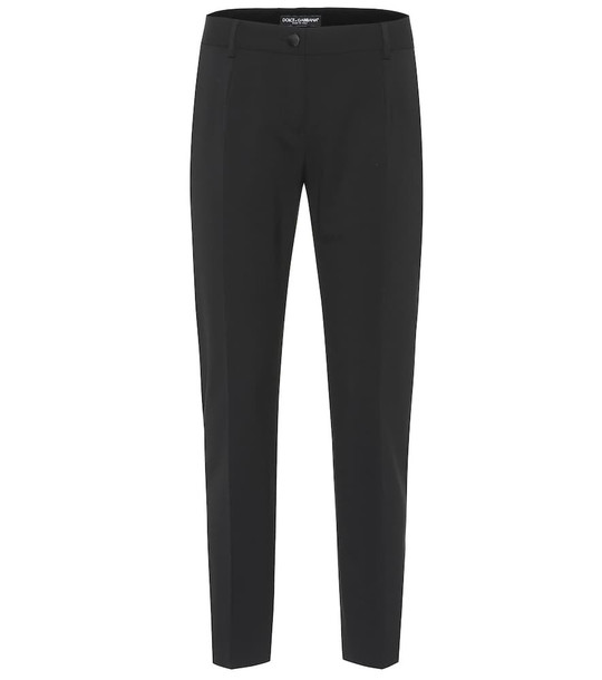 Dolce & Gabbana Stretch-wool straight pants in black