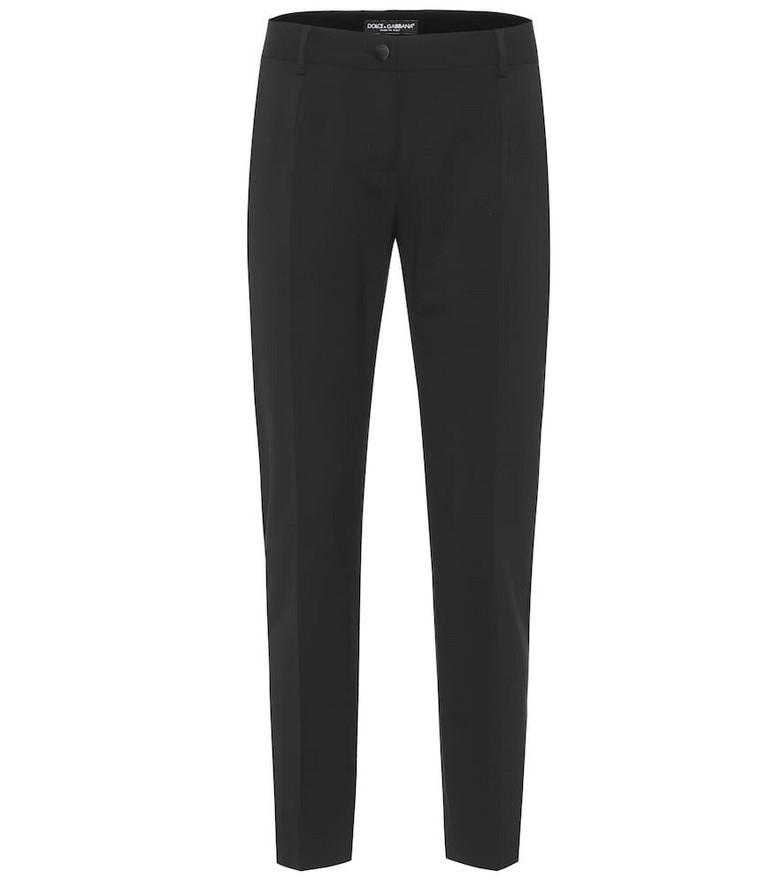 Dolce & Gabbana Stretch-wool straight pants in black