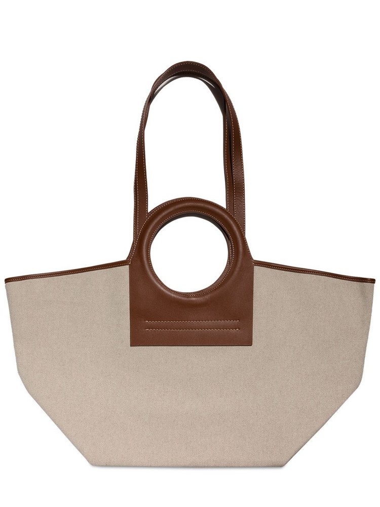 HEREU Cala S Canvas & Leather Tote Bag in beige