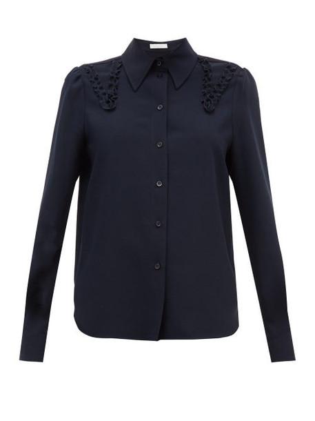 See By Chloé See By Chloé - Ruffled Crepe Shirt - Womens - Dark Navy