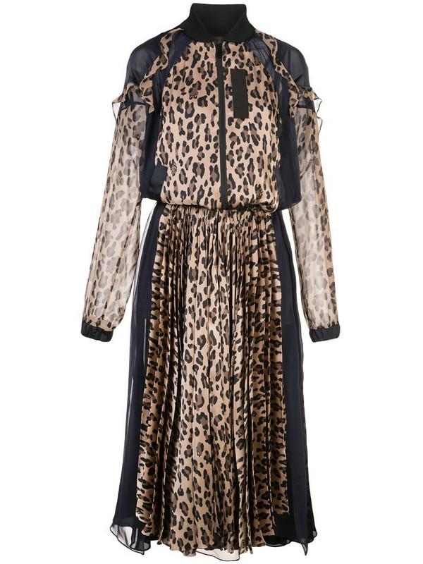 Sacai leopard print bomber maxi dress in brown