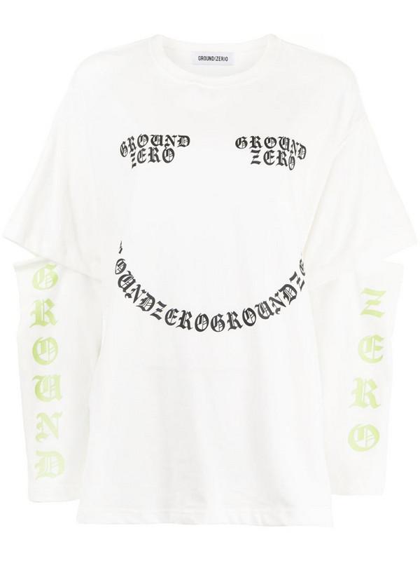 Ground Zero logo-print cutout T-shirt in white