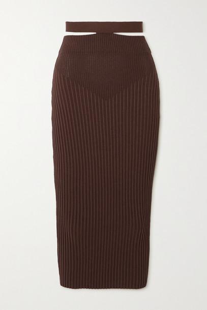 ANDREA ADAMO - Cutout Ribbed-knit Midi Skirt - Brown
