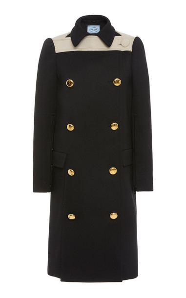 Prada Two-Tone Double-Breasted Wool Coat Size: 38