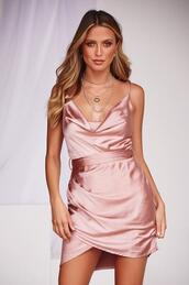 dress,rose gold,satin feel,mini dress,cowl neckline,party dress,cocktail dress,cowl neck