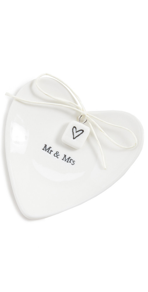 Shopbop Home Shopbop @Home Mr & Mrs Heart Shaped Ring Dish in white