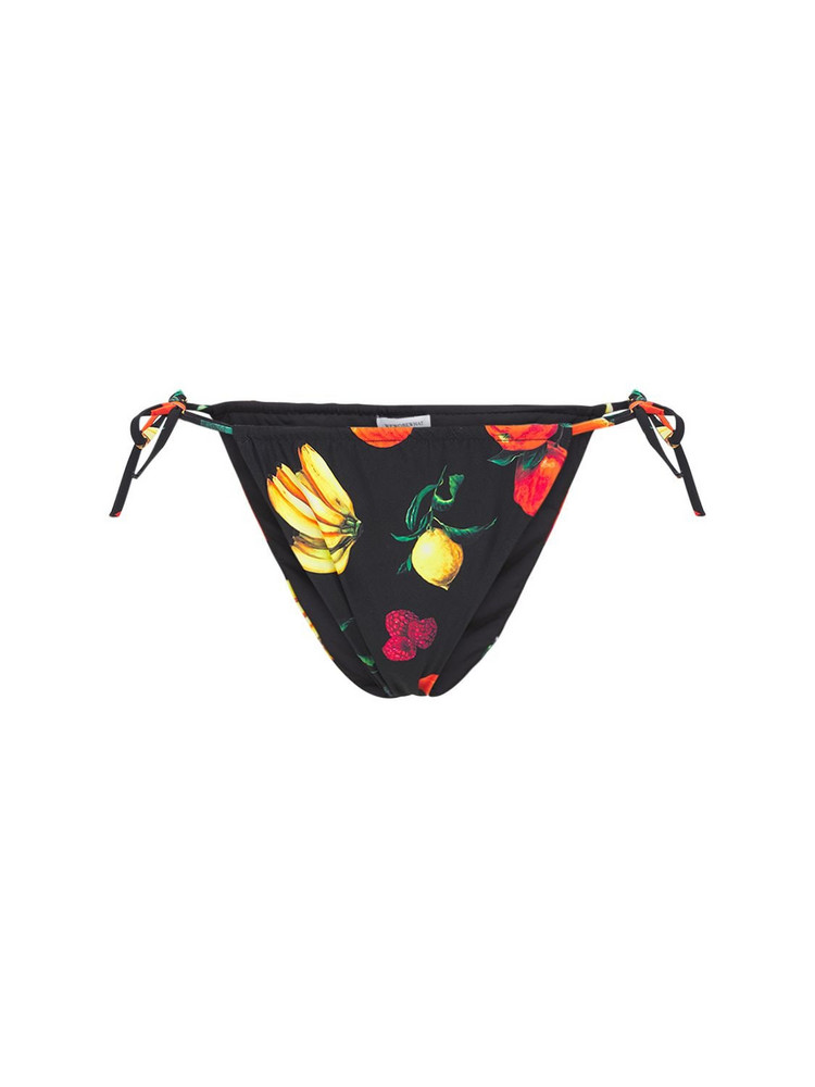 WEWOREWHAT Ruched Printed String Bikini Bottoms in black / multi
