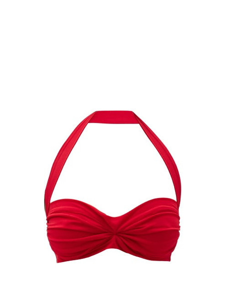 Norma Kamali - Bill Halterneck Ruched Bikini Top - Womens - Red