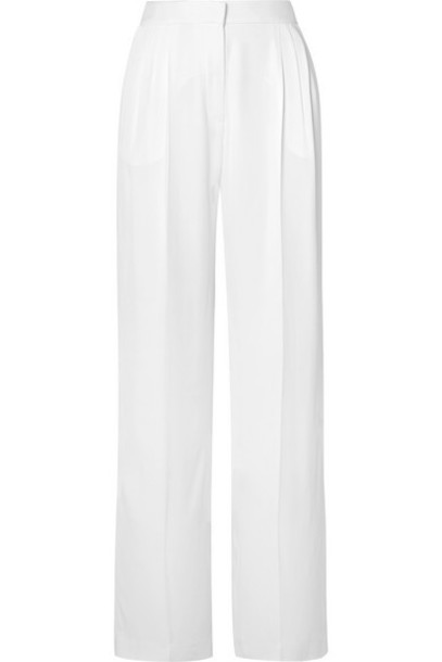 Rosetta Getty - Pleated Crepe Wide-leg Pants - White