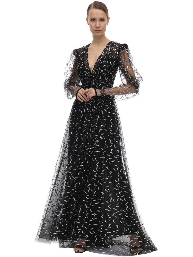SANDRA MANSOUR V Neck Tulle Dress W/glitter in black