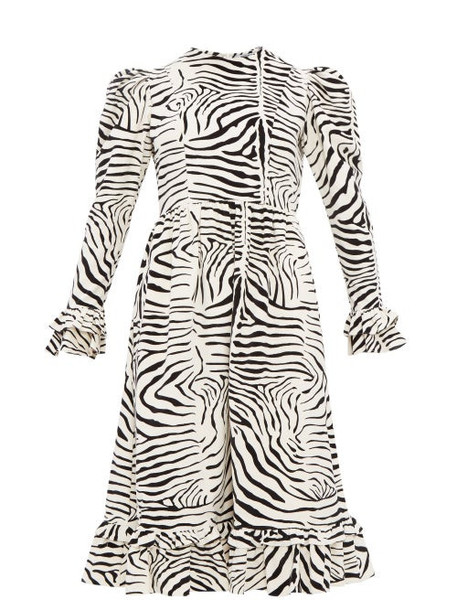 Batsheva - Zebra Print Cotton Velvet Dress - Womens - Cream Multi