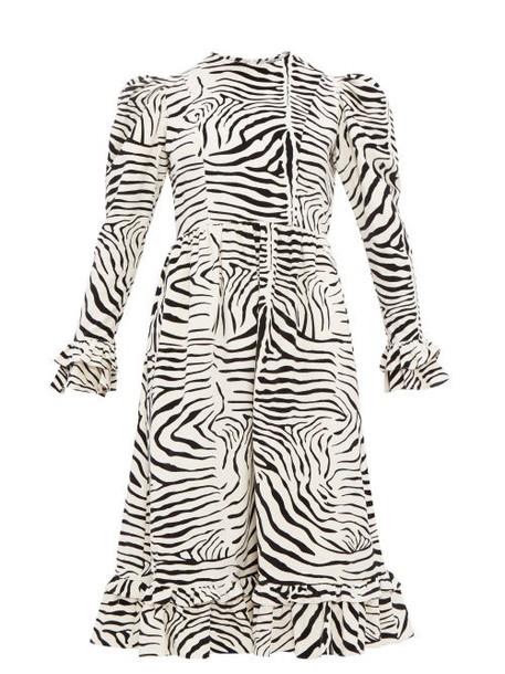 Batsheva - Zebra Print Cotton Velvet Dress - Womens - Cream Multi