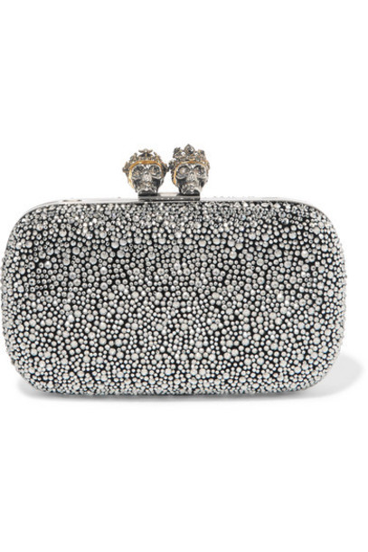 Alexander McQueen - Queen And King Crystal-embellished Suede Clutch - Silver