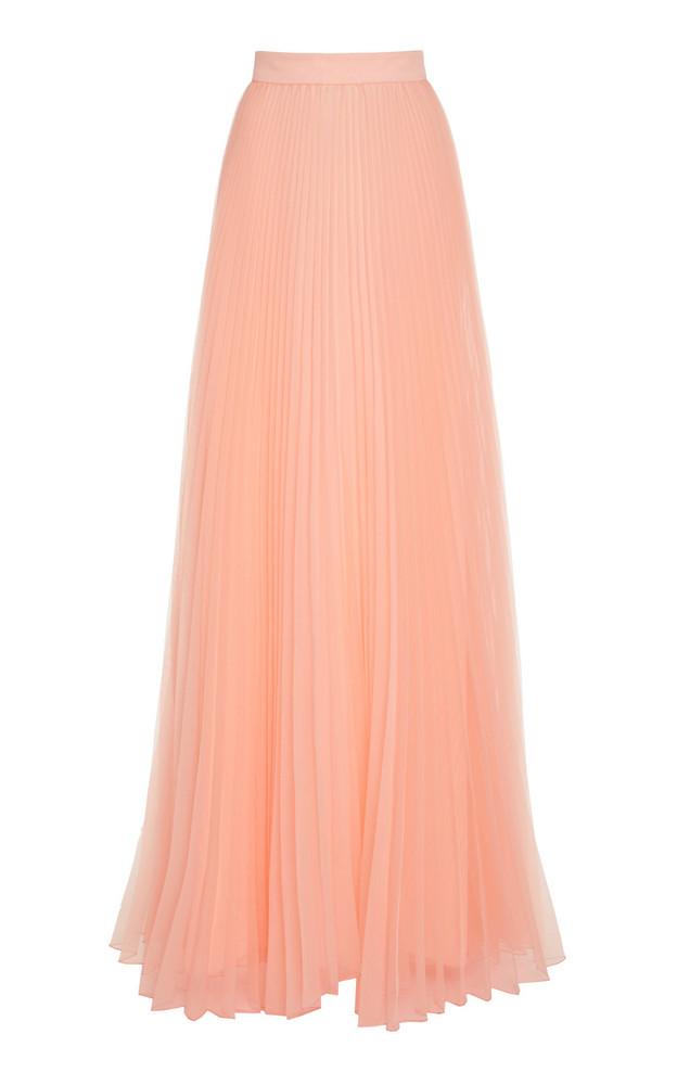 Monique Lhuillier Sunburst Pleated Skirt in pink