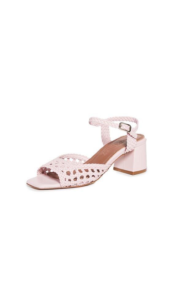 Souliers Martinez 50mm Ischia Woven Sandals in pink