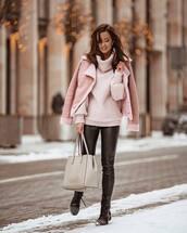 jacket,aviator jacket,pink jacket,black boots,lace up boots,black pants,leather pants,shoulder bag,turtleneck sweater,knitted sweater
