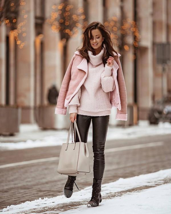 jacket aviator jacket pink jacket black boots lace up boots black pants leather pants shoulder bag turtleneck sweater knitted sweater