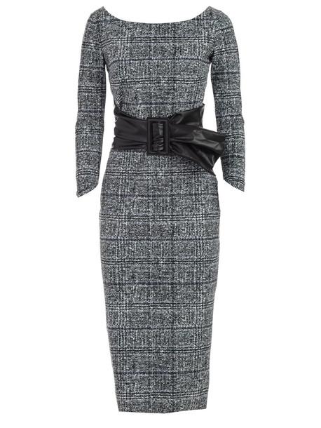 La Petit Robe Di Chiara Boni Dress Boat Neck Galles W/faux Leather Belt