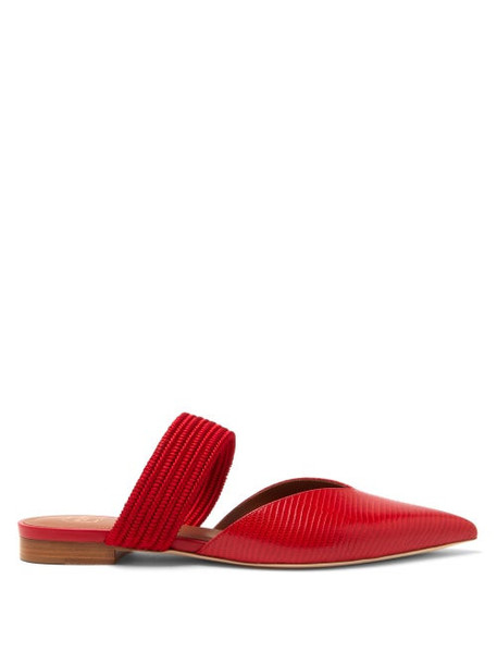 Malone Souliers - Maisie Point-toe Lizard-effect Leather Mules - Womens - Red