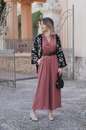 macarenagea,blogger,jumpsuit,bag,shoes,spring outfits,cardigan,mid heel pumps