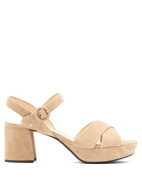 Prada - Suede Platform Sandals - Womens - Nude