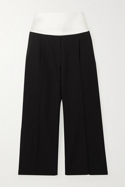 GIVENCHY - Cropped Satin-trimmed Grain De Poudre Wool Pants - Black