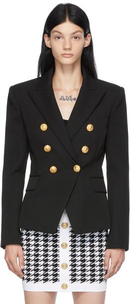 Balmain Black Wool 6-Button Permanent Blazer
