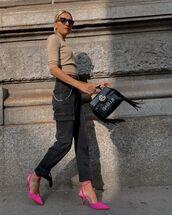 bag,shoulder bag,black bag,slingbacks,cargo pants,sweater