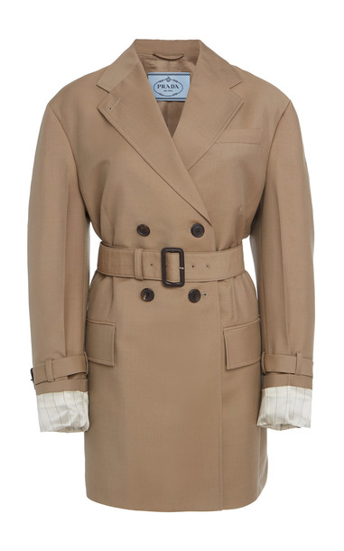 Prada Belted Mohair Double Breasted Blazer in neutral