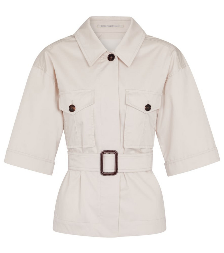 S Max Mara Rea belted cotton jacket in white