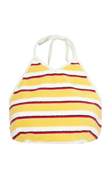 Solid & Striped Demi Striped Terry Halterneck Bikini Top in yellow