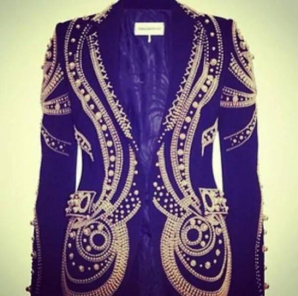 jacket blazer gold black jewelled