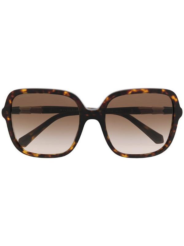 Bvlgari tortoiseshell oversize sunglasses in brown