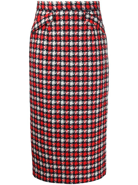 Goat Kay check pencil skirt in red