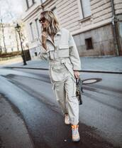 jumpsuit,grey jumpsuit,sneakers,dior bag,sunglasses,casual,streetwear