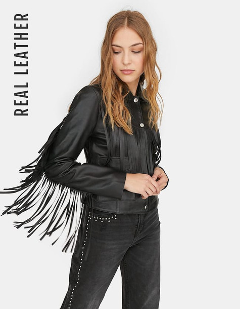Stradivarius Limited Edition Leather Jacket With Fringes In Black