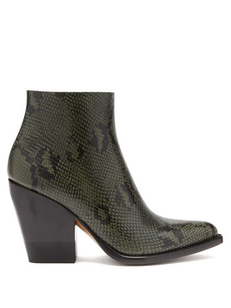Chloé Chloé - Rylee Python Effect Leather Boots - Womens - Dark Grey