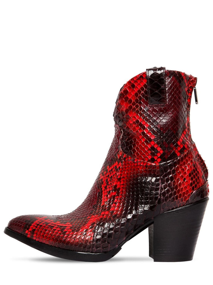 ROCCO P. 70mm Python Skin Boots in red