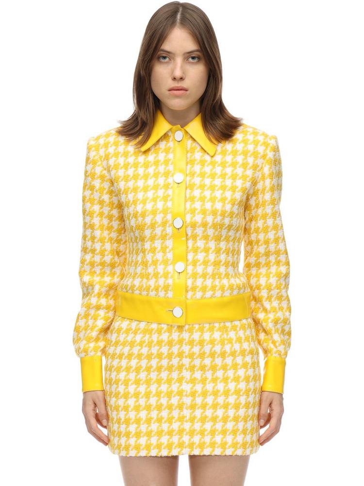 ROWEN ROSE Cotton Blend Houndstooth Tweed Jacket in yellow