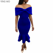 dress,tight,bodycon,blue,bandage,fold over,lace,bow,ruffle,mermaid,trumpet,off the shoulder