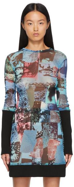 Paula Canovas Del Vas Graphic Mesh Blouse in blue