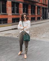 pants,high waisted pants,crossbody bag,sweater