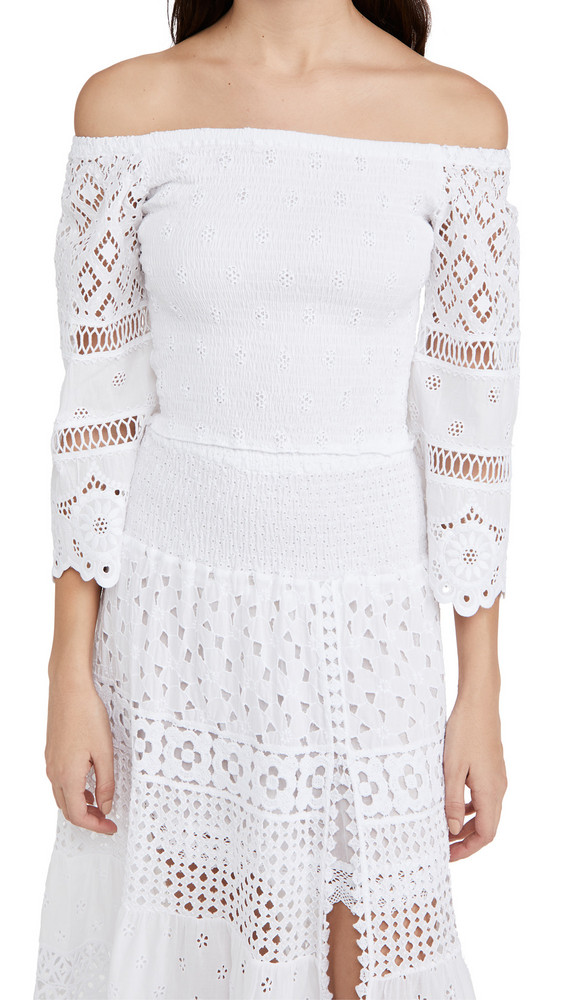 Temptation Positano Paraguay Ruched Off Shoulder Top in white