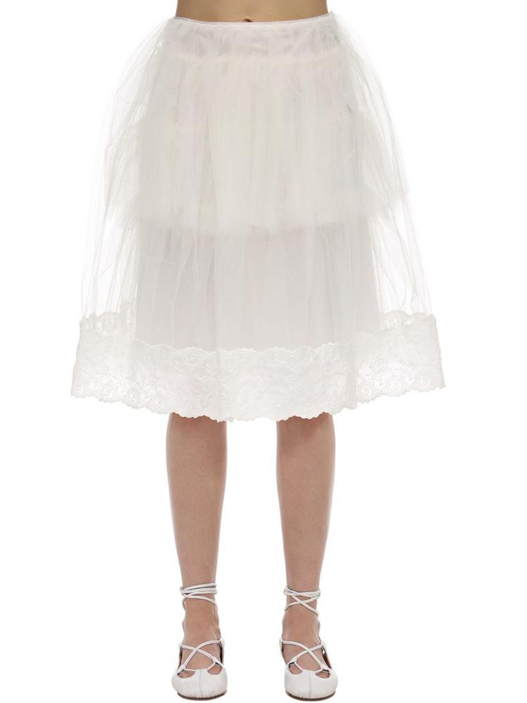 SIMONE ROCHA Tulle & Lace Midi Skirt in ivory