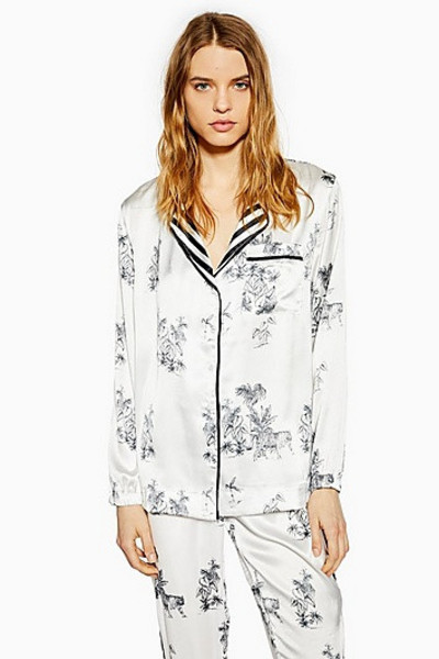 Topshop Monochrome Jungle Print Pyjama Shirt - Monochrome