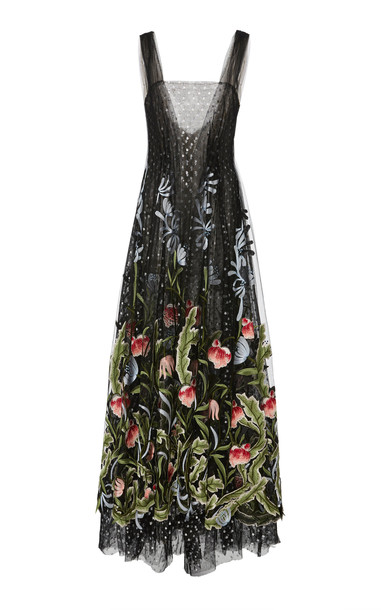 Rodarte Embroidered Floral Tulle Dress in black