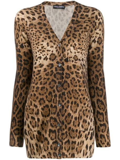 Dolce & Gabbana leopard print cardigan in brown