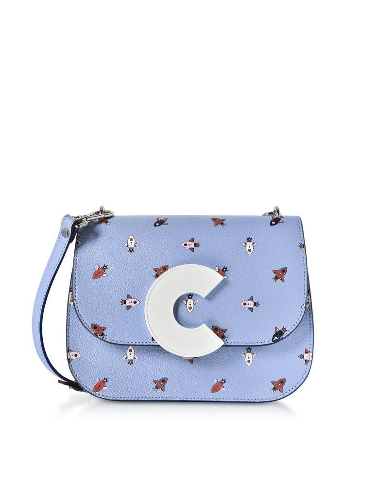 Coccinelle Craquante Razzo Printed Leather Shoulder Bag in lilac